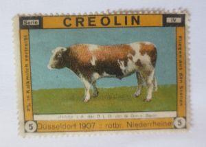 Vignetten, Creolin  in Kalkmilch vertreibt Fliegen aus den Ställen,1907♥ (51777)