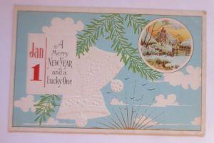 Neujahr, Glocken, Tannenzweig, Kalender, Winterdorf, 1908, Prägekarte ♥  (31893)