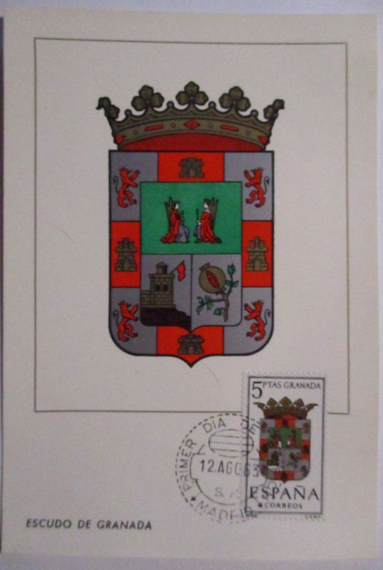 Spanien Maximumkarte  von 1963 Wappen Granada (61472)
