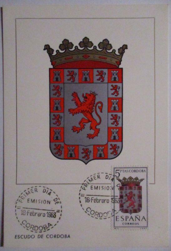 Spanien Maximumkarte  von 1963 Wappen Cordoba (27332)