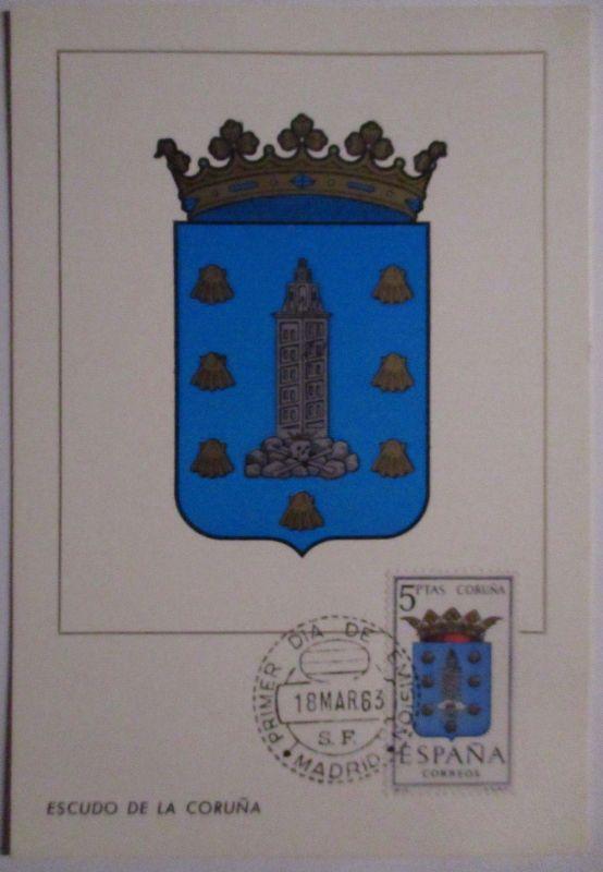 Spanien Maximumkarte  von 1963 Wappen La Coruna (37137)