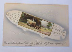 Künstlerkarte, Landschaft, Kutsche, Zeppelin,  1910, Prägekarte  ♥ (53210)