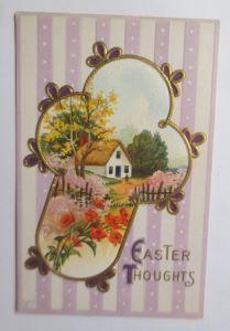 Ostern, Kreuz, Landschaft, Haus,     1908, Prägekarte ♥ (70305)