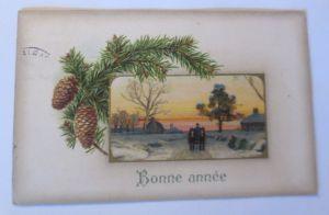 Weihnachten, Winterlandschaft, Tannenzapfen,  1909, Prägekarte ♥ (54680)