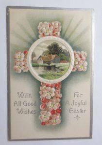 Ostern, Kreuz, Landschaft, Blumen,   1910,  Prägekarte ♥ (67664)