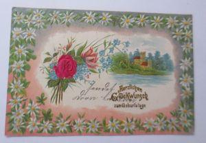 Geburtstag, Blumen, Rosen, Jugendstil,  1902, Prägekarte ♥ (54772)