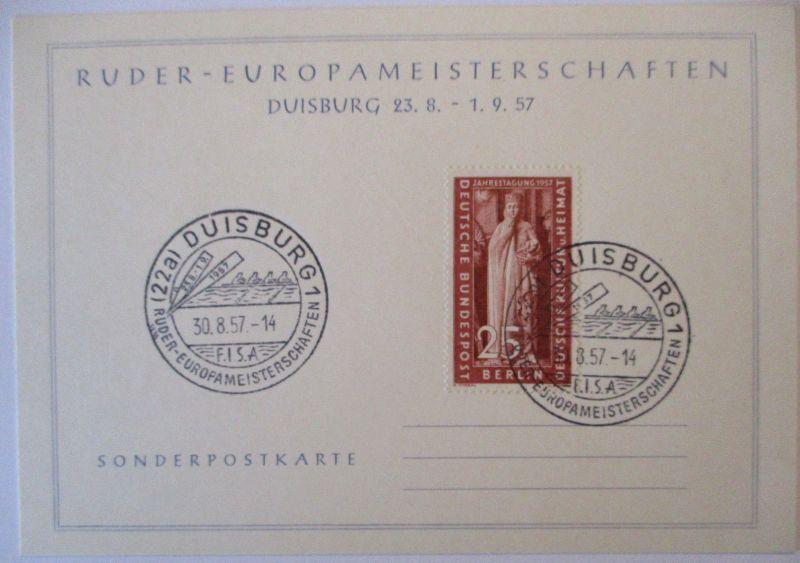 Rudern, Ruder Europameisterschaft Duisburg 1957 Sonderkarte (7867)
