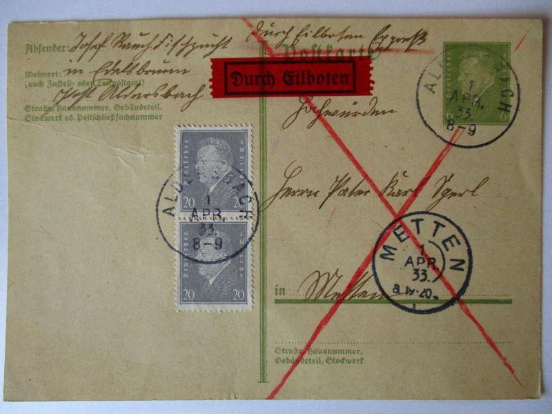 D.Reich, Eilboten Ganzsache 1933 nach Metten (42893)