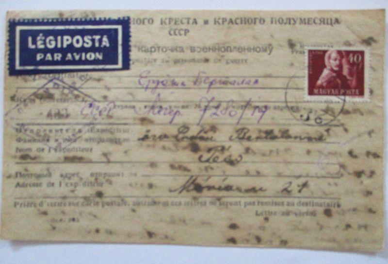 Rußland Sowjetunion, Kriegsgefangenenpost POW Ungarn 1948 mit Luftpost (66831)