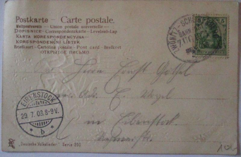 D.Reich, Bahnpost Zwönitz - Scheibenberg, schöne Karte 1903 n.Eibenstock (52695)