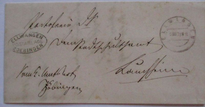 Württemberg, 1875 Ellwangen Postablage Zoebingen nach Lauchheim (49614)