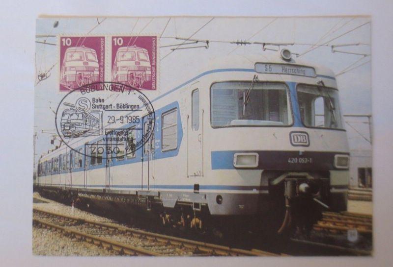Böblingen Maximumkarte Bahn Stuttgart-Böblingen Eisenbahn 1985 (16296)
