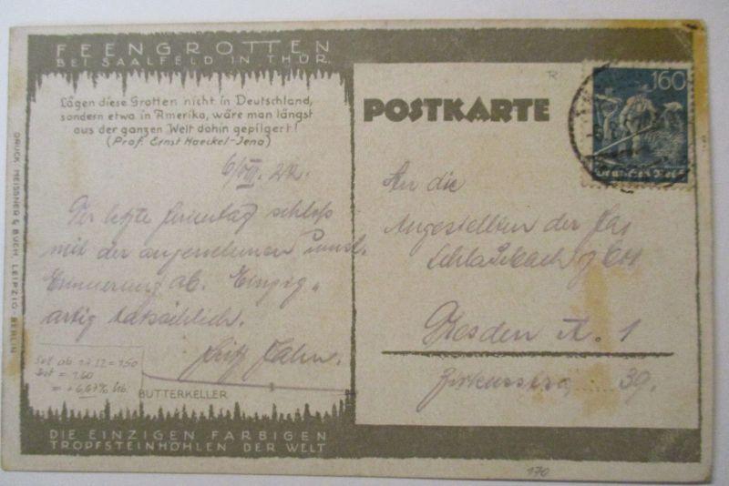 D.Reich, Michel Nr. 170 EF auf Ansichtskarte Feengrotte Saalfeld (41373)