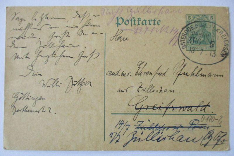 Bahnpost Osterode Kreiensen, Ganzsache 1913 (11343)