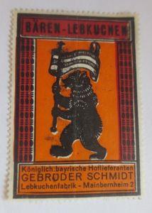 Vignetten, Bären-Lebkuchen Lebkuchenfabrik Mainbernheim Bayern 1960 ♥ (6245)