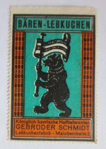 Vignetten, Bären-Lebkuchen Lebkuchenfabrik Mainbernheim Bayern 1960 ♥ (39434)