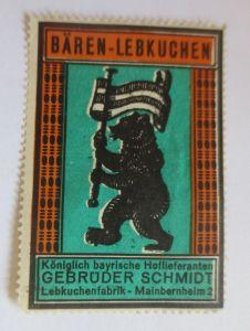 Vignetten, Bären-Lebkuchen Lebkuchenfabrik Mainbernheim Bayern 1960 ♥ (19751)