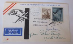 Österreich AUA Erstflug Wien-Prag-Düsseldorf 1961 ♥ (39332)