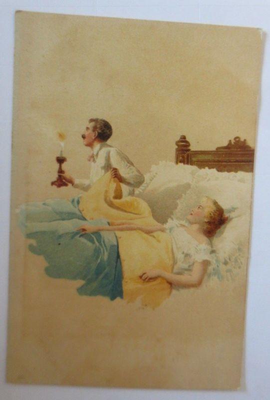 Künstlerkarte, Frauen, Männer, Mode, Bett,  1900,  Hegedüs Geiger  ♥ (57545)