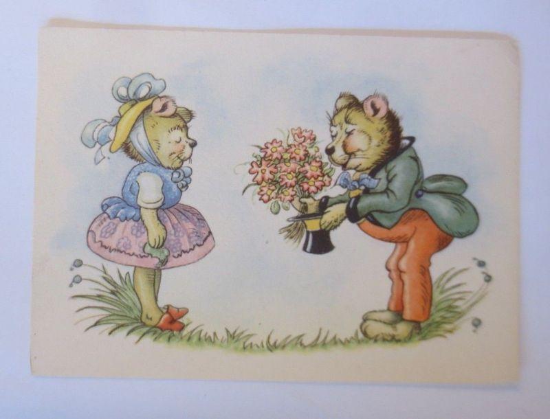 Personifiziert, Bär, Blumen, Zylinder, Gratulieren, 1945, Hedda Lehmann ♥(68332)