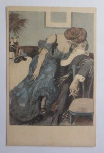 Künstlerkarte, Frauen, Männer, Kuss,    1910, Simplicissimus Karte  ♥ (52995)