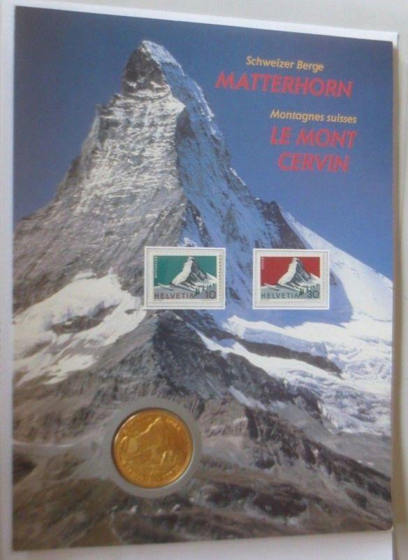 1 Unze Schweizer Berge Matterhorn Silber Medaille PP   ♥