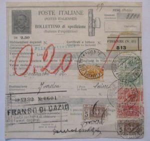 Italien, Paketkarte 1932 mit 7 Werte Zusatz (28691)