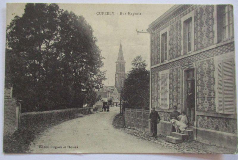 Frankreich, Cuperly, Rue Magenta, Bewohner, ca. 1910 (37066)
