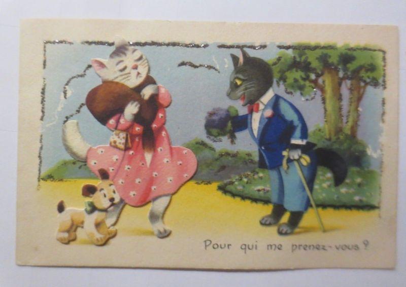 Katzen, Hund,  1930, Glitzerkarte   ♥ (66208)