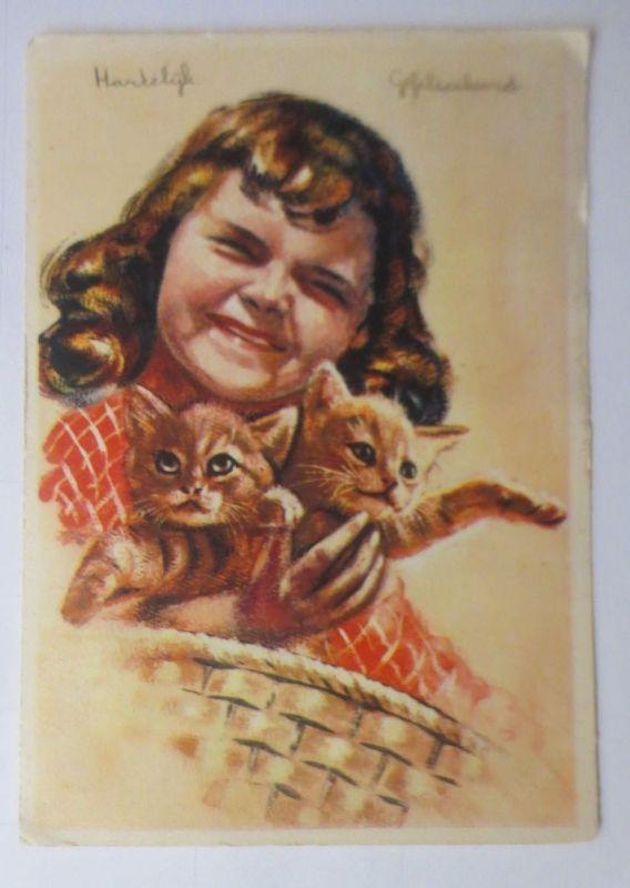Katzen, Kinder,  Korb, 1945 ♥ (66204)