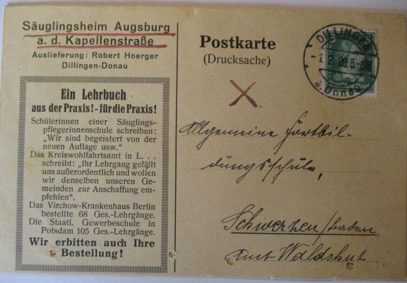 D.Reich, Säuglingsheim Augsburg Kapellenstrasse, Werbung Reklame 1928 (49107)