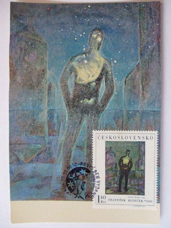 Tschechoslowakei, Kunst Maximumkarte, Nachtfußgänger, 1970 (34457)