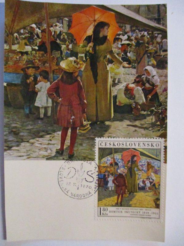 Tschechoslowakei, Kunst Maximumkarte, Markt, 1970 (26714)