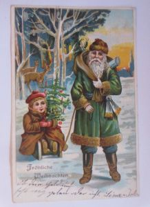 Weihnachten, Weihnachtsmann, Kinder, Weihnachtsbaum, Schlitten, 1908  ♥ (67165)