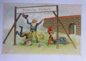 Ostern, Zwerge, Turnen, Küken,    1907, Prägekarte  ♥ (65865)