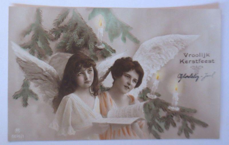 Weihnachten, Engel, Tannenzweig, Kerzen,    1917  ♥ (67153)