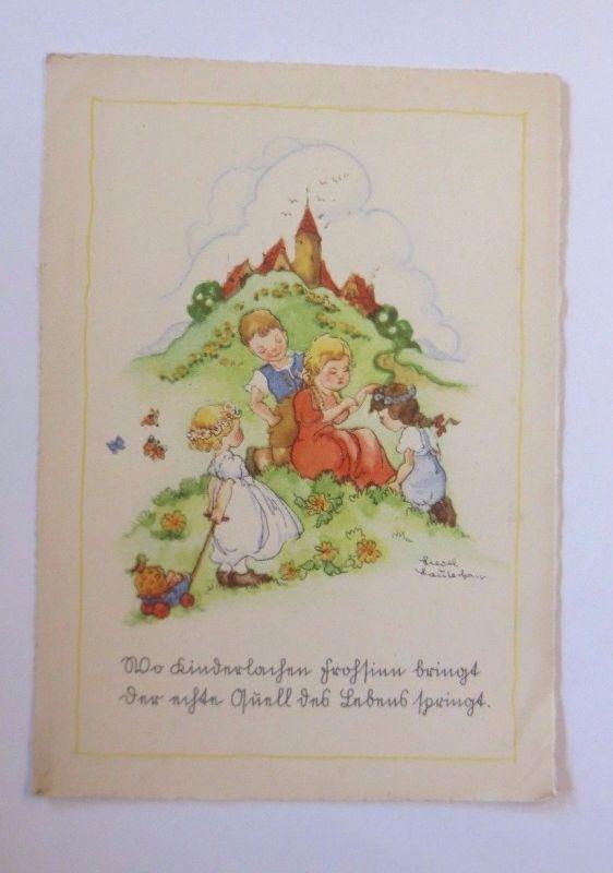 Kinder, Blumen, Wiese, Spielzeug     1950, Liesel Lauterborn  ♥  (53665)