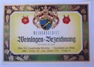 Weinetikett, Weinbaugebiet, Weinlagen Bezeichung. Steinheim am Main ♥(67861)