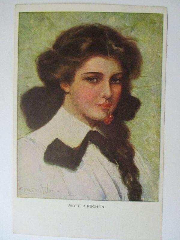 Künstlerkarte Frau, Reife Kirschen, 1920 aus Bernburg (43711)