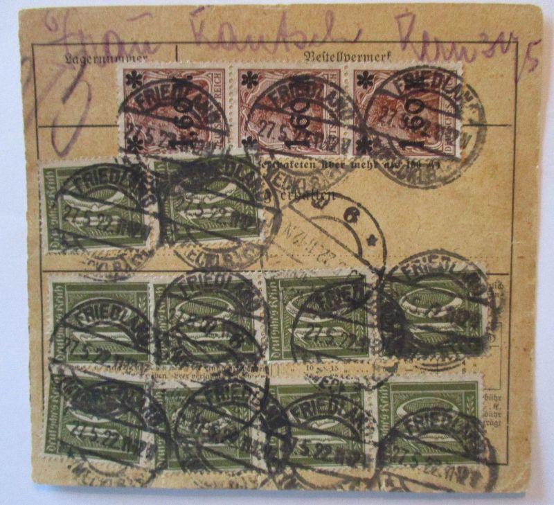 Deutsches Reich, mit 15 Werte frankierte Paketkarte 1922 aus Friedland (57334)