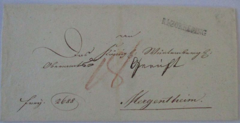 Bayern, Vorphila 1821 R4 Zorneding nach Mergentheim (46025)