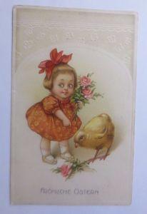 Ostern, Kinder, Mode, Küken, Rosen,   1908, Prägekarte  ♥  (62566)