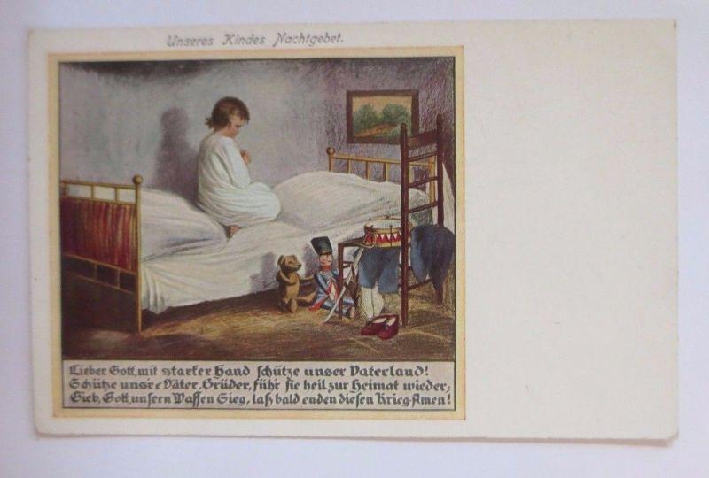 Kinder, Unseres Kindes Nachtgebet, Spielzeug, Teddy, Trommel, 1916 ♥ (52000)