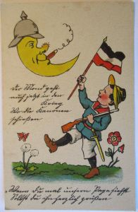 Kinder WW 1, Mond mit Pickelhaube, Kind mit Fahne  ♥ (38845)
