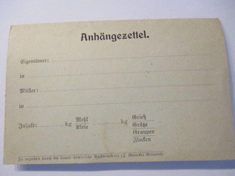 D.Reich, Anhängezettel für Roggen Weizen Hafer, Druckerei Neuwied (41477)
