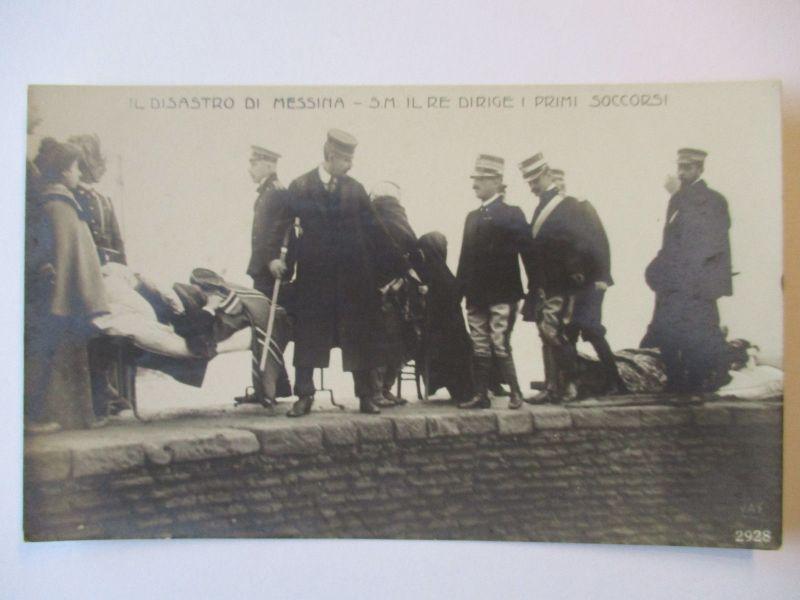 Italien, IL Disastro di Messina, König von Italien, Fotokarte (4050)