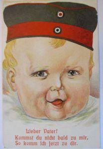 Kinder WW 1, Lieber Vater, kommst du nicht bald zu mir, 1915 ♥  (9064)