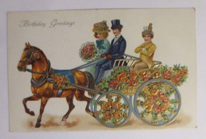 Geburtstag Manner Frauen Rosen Pferd 1909 Pragekarte 42998