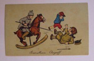 Kinder, Soldaten, Kavallerie Angriff, 1916, Serie W.H.S. ♥ (40154)