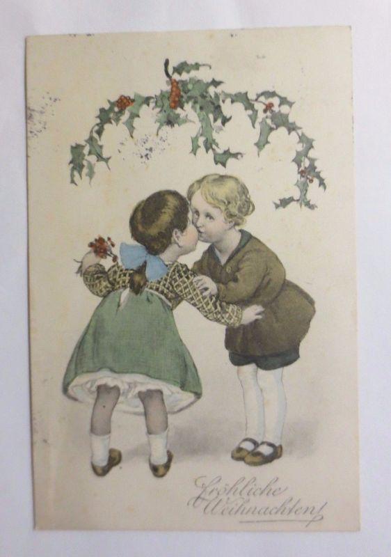 Weihnachten, Kinder, Kuss, Disteln\